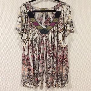 NWOT One World Beautiful Beaded Flowing Top 3x